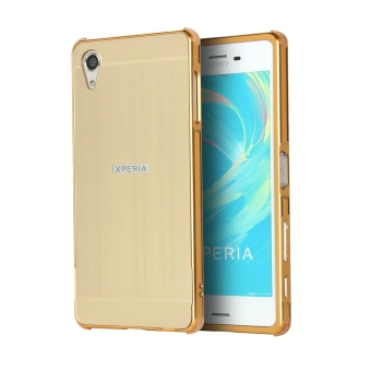 Premium Aluminum Metal Frame Bumper Slim Mirror Effect Hard BackCase Cover for Sony Xperia X (Golden)
