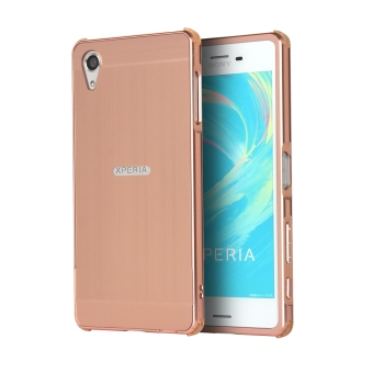 Premium Aluminum Metal Frame Bumper Slim Mirror Effect Hard BackCase Cover for Sony Xperia X (Rose Gold)