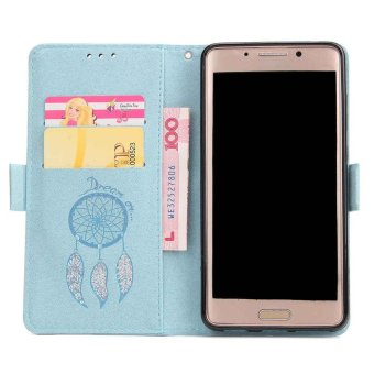 Premium Embossed Wind Chimes PU Leather Wallet Folio Flip Caseswith Detachable Wrist Strap Card Slots Kickstand Function CoverCase for Huawei Mate 9 Pro - intl - 5