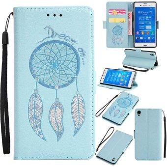 Premium Embossed Wind Chimes PU Leather Wallet Folio Flip Caseswith Detachable Wrist Strap Card Slots Kickstand Function CoverCase for Sony Xperia Z3 - intl Price Philippines