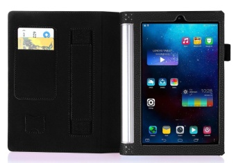 Premium PU Leather Case Stand Cover for Lenovo Yoga Tab 3 8.0 850 and Yoga Tablet 2 8.0 830 with Velcro Hand Strap and Card Slots (Black) - intl - 2