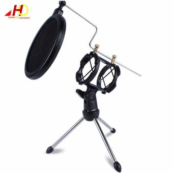 PS5 Adjustable Tripod Studio Condenser Stand with Windscreen FilterCover (Black)