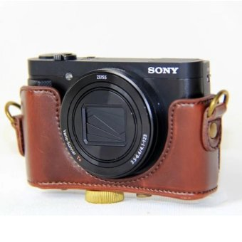 PU Leather Camera Bag Case Cover Pouch For SONY DSC-HX90V HX90WX500 with Shoulder strap - intl - 5