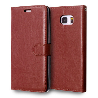 PU Leather Flip Stand Case Wallet Cover for Samsung Galaxy Note 5(Brown) - Intl