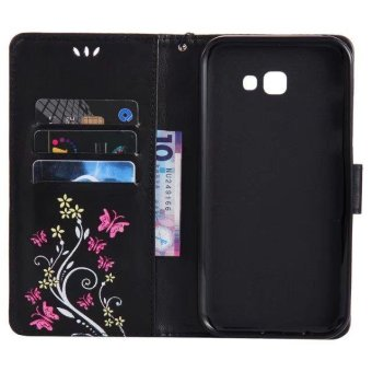PU Leather Wallet Phone Cases For Samsung Galaxy A7 2017 EmbossingCover For Galaxy A720 Flip Wallet Bags (Black) - intl - 3