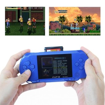 PXP3 Game Players Console 16 Bit 2.7 Inch Portable Handheld VideoGame Retro Megadrive 150+ Games with 2pcs Game Card(Blue) - intl