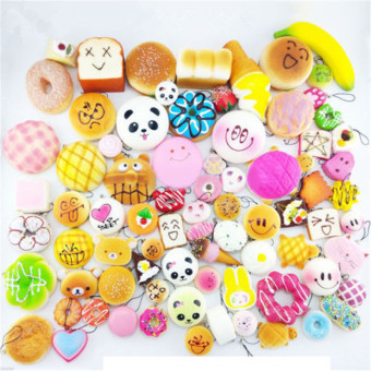 Random 20pcs Soft Squishy Cake/Panda/Bread/Buns Phone Straps (Multicolor)