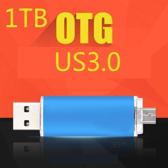 ~ READY STOCK ~ 1TB U Disk High-speed Read and Write USB3.0 Practical Android Two Head Flash Drive Usb High-speed Transmission of Metal Texture U Disk Memory Card (blue) - intl
