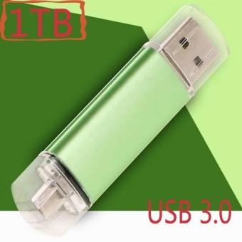 ~ READY STOCK ~ Storage Pen Drive USB3.0 External Memory 1TBHigh-speed Read and Write Practical U Disk Android Two Head UsbHigh-speed Transmission Metal OTG U Disk (green) - intl