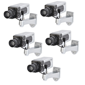 Realistic Dummy Security Camera (Silver) Set of 5