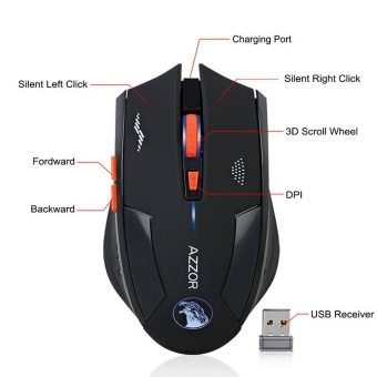 Rechargeable Wireless 2.4G Gaming Mouse Gamer Silence Built-in Battery PC Laptop - intl - 2