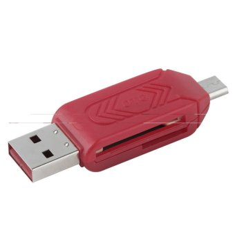 Reliable Micro USB OTG TF/SD Card Reader For Cell Phone PC red