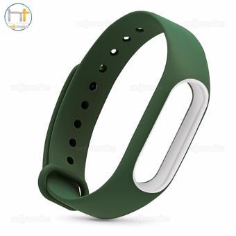 Replacement Jelly Wrist Strap for Xiaomi Mi Band 2 (Dark Green/White) - 3