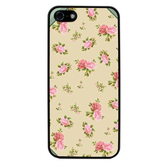 Retro Stripe Flower Pattern Phone Case for iPhone 5C (Black)