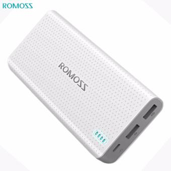 Romoss Sense 15 15000mAh Dual USB Output 2.1A 1A Quick Charge LED Indicator Power Bank (White)