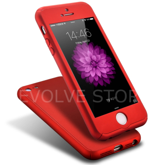 Roybens 360 Degree Full Body Protect Hard Slim Case Cover withTempered Glass for iPhone 5/5S/5SE(Red)(Export)