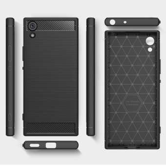 Rugged Armor Case For Sony Xperia XA1 Ultra Carbon Fiber Resilient Drop Protection Anti-Scratch Cover Black - intl - 2