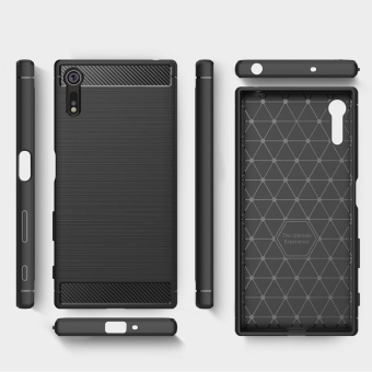 Rugged Armor Case For Sony Xperia XZ Carbon Fiber Resilient DropProtection Anti-Scratch Cover Black - intl - 2