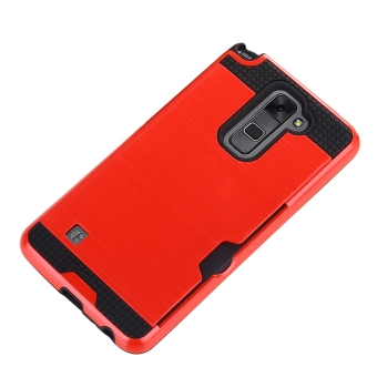 RUILEAN Case For LG Stylus 2 / LG G Stylo 2 LS775 Dual Layer TPU+PC Shockproof Card Slot Brushed Armor Protective Cover Red