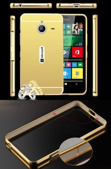 RUILEAN Luxury Metal Aluminum Bumper for Microsoft Lumia 640 XLCase Detachable + Mirror Hard Back 2 in 1 Cover Ultra Thin FramePink - 3