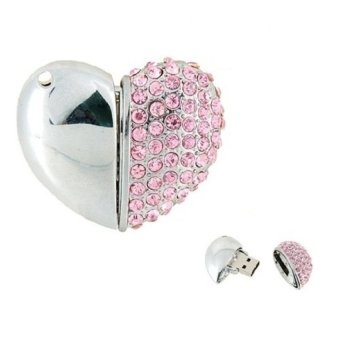 S and F Heart with Diamonds 32GB USB Flash Drives Necklace Pendant Pen Drive Metal (Pink) (Intl) - picture 2