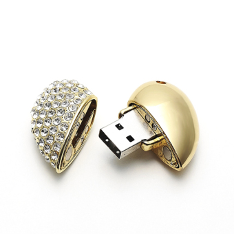 S and F Heart with Diamonds USB Flash Drives 64GB Necklace Pendant Memory Stick Pendrive Metal (Gold) (Intl) - picture 2