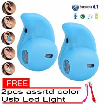 S530 Mini Wireless Bluetooth Headset Set of 2 (Blue) with free 2 pcs assrtd color Usb Led Light