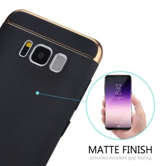 S8 phone Case + tempered glass/ Luxury Chromed 3in1 Hybrid Armor Shockproof Matte Texture Skin Hard PC Cover For Samsung Galaxy S8/For Samsung Galaxy S8 Anti Blue-Ray Eye Protect Full Cover Tempered Glass Screen Protector Film - intl - 2