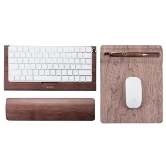 SAMDI Bamboo Wireless Magic Keyboard Stand Dock Holder + SoftWooden Mouse Mat + Wooden Keyboard Wrist Rest Pad for Apple IMac -intl - 2