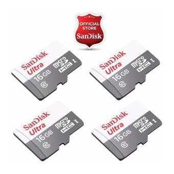 Sandisk Ultra Micro SDHC Class 10 UHS-I 16GB SDSQUNS-016G - NEW MODEL (Speed up to 80MB/s) (SET OF 4)