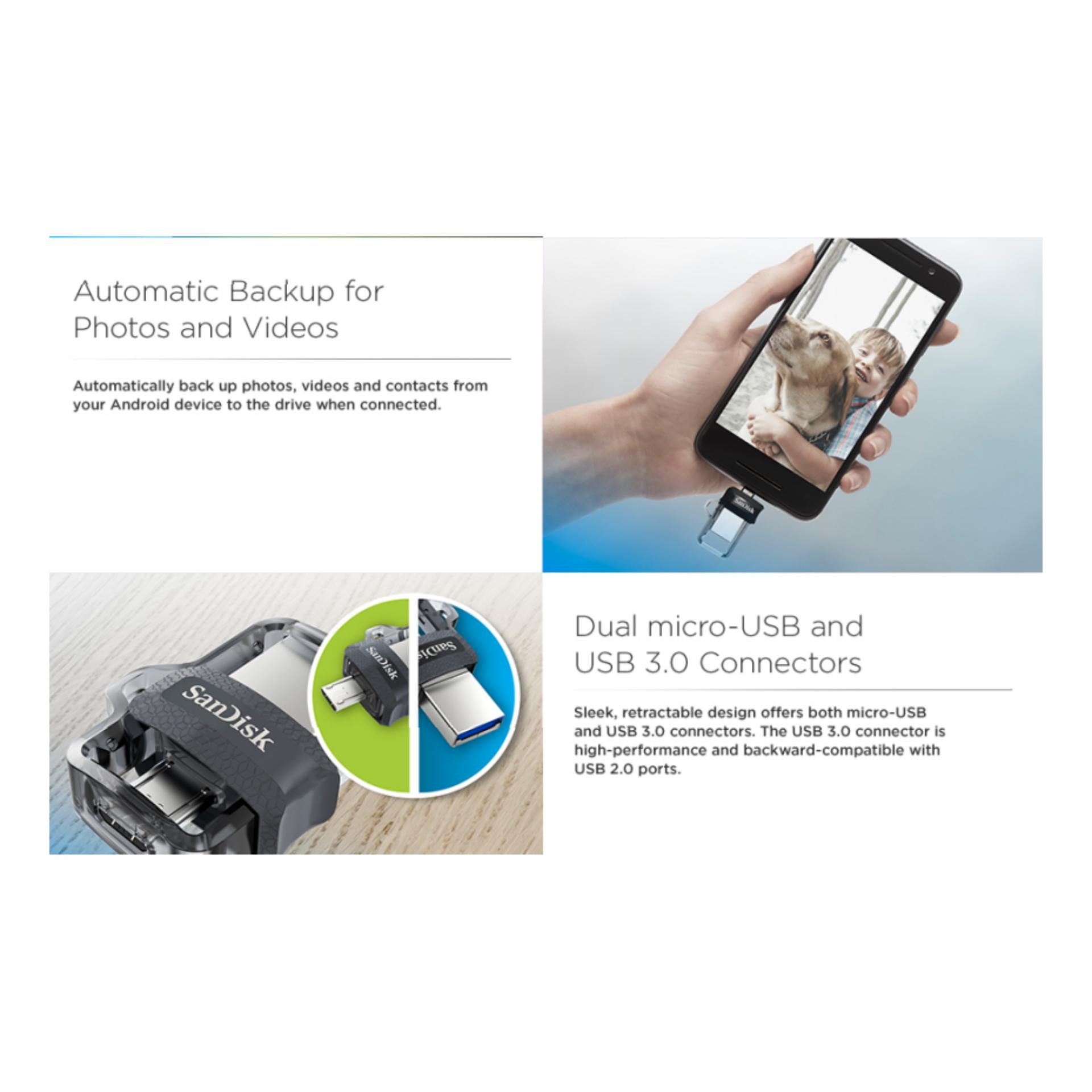 Philippines Sandisk Ultra Sddd3 016g 16gb Otg Dual Usb Drive M3 30 M30 Translucent