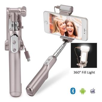 Selfie Stick,Bluetooth Selfie Stick with 360 Degree Led Fill Light and Mirror, for iPhones, Samsung Galaxy s7 edge/s4 Android System Phones - intl