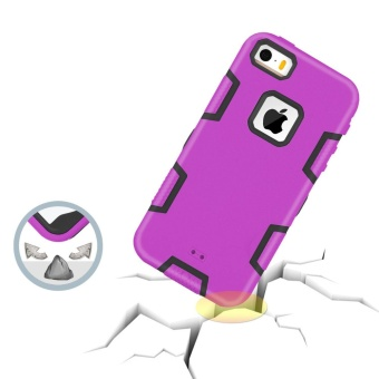 Shockproof Heavy Duty Combo Hybrid Defender High Impact Body RuggedHard PC & Silicone Case Protective Cover for Apple iPhone 5 5SSE - intl - 3
