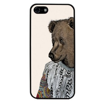 Sketch Bear Art Pattern Phone Case for iPhone 4/4S (Black)