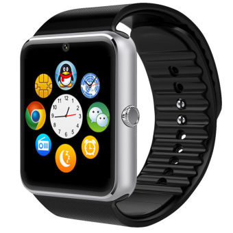 Smart Watch Clock Sync Notifier With Sim Card Bluetooth Connectivity (Silver)