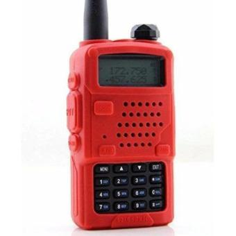 Soft Handheld Rubber Silicon Case for Baofeng UV-5R and UV-5RE Walkie Talkie Two Way Radio (Red) - 3