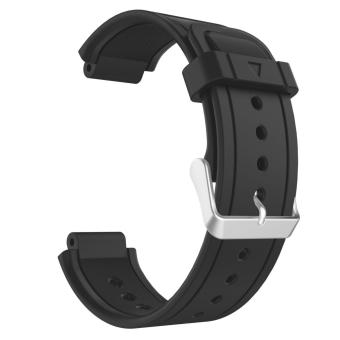 Soft Silicone Replacement Strap Band with Metal Clasp Buckle for Garmin Vivoactive Sports GPS Smart Watch(Black) - intl