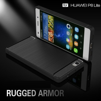 Soft TPU Shock Absorption and Carbon Fiber Design Silicone Case for Huawei P8 Lite (2015) - intl - 2
