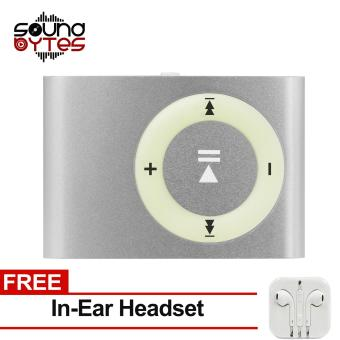 Sound Bytes Mini Metal Clip MP3 Player (Silver) with FREE In-Ear Headset