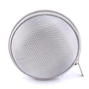 Sound Bytes Mini Round Storage Case Bag For Earphone Headphone(Silver) - 3