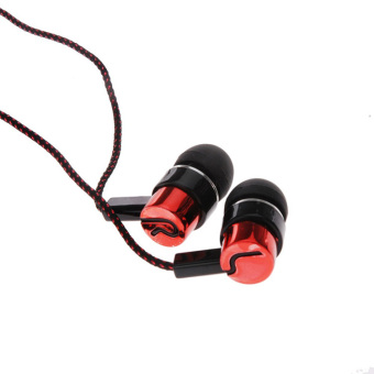 Sport High Quality Cloth Line In-ear Earphone Earbuds Headphones Noise Isolating (Red) - Intl