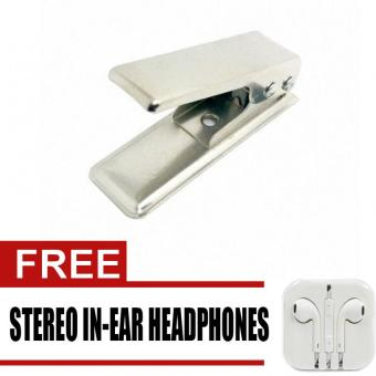 Standard Sim to Micro Sim Card Punch Cutter with ejection pin &Micro to Sim Adapter for iPhone with free Stereo In-Ear Headphone(White) Price Philippines
