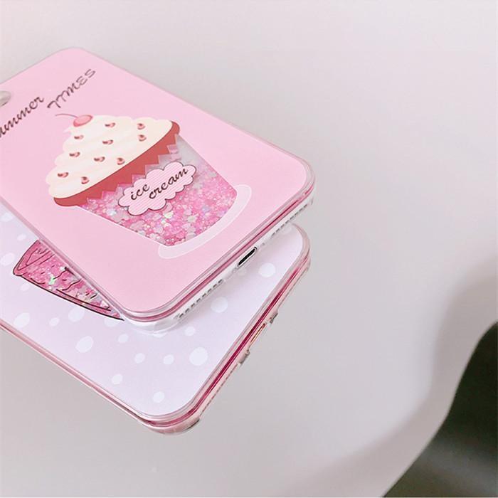 Summer Ice Cream Drink Dynamic Liquid Quicksand Glitter SequinsPhone Cases For iPhone 6Plus .