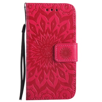 Sunflower Emboss Flip Leather Back Cover Cases With Stand Card Slotfor Samsung Galaxy S5 mini - intl - 2