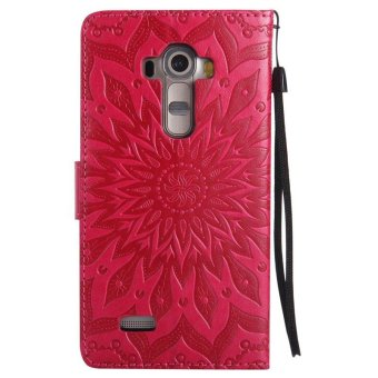 Sunflower pattern PU Leather Wallet Stand Flip Case Cover For LG G4Case - intl - 3