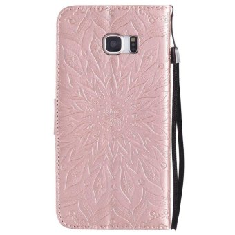 Sunflower pattern PU Leather Wallet Stand Flip Case Cover ForSamsung Galaxy S6 Edge Plus Case - intl - 3