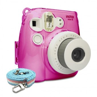 Takashi Protective Crystal Plastic Case with Strap for FujifilmInstax Mini 8 Instant Camera (Pink) - 2