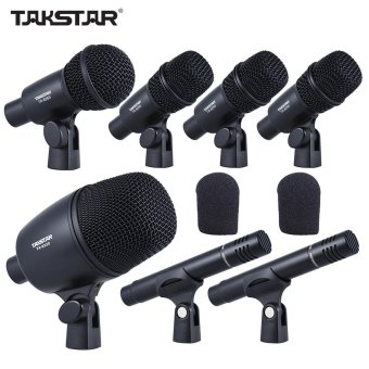 TAKSTAR DMS-7AS Professional Wired Microphone Mic Kit for Drum Set Musical Instruments with Standard Mounting Thread Carrying Case 1 Big Drum Microphone 4 Small Drum Microphones 2 Condenser Microphones - intl
