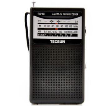 Presyo TECSUN multi-band FM/AM and TV audio channel black radio receiverR218 - Intl in Philippines