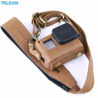 TELESIN Handmade Leather Case/Protector for GoPro Hero5/Hero 5Black Protective Bag with Neck Strap Belt and Lens Cap (Brown)